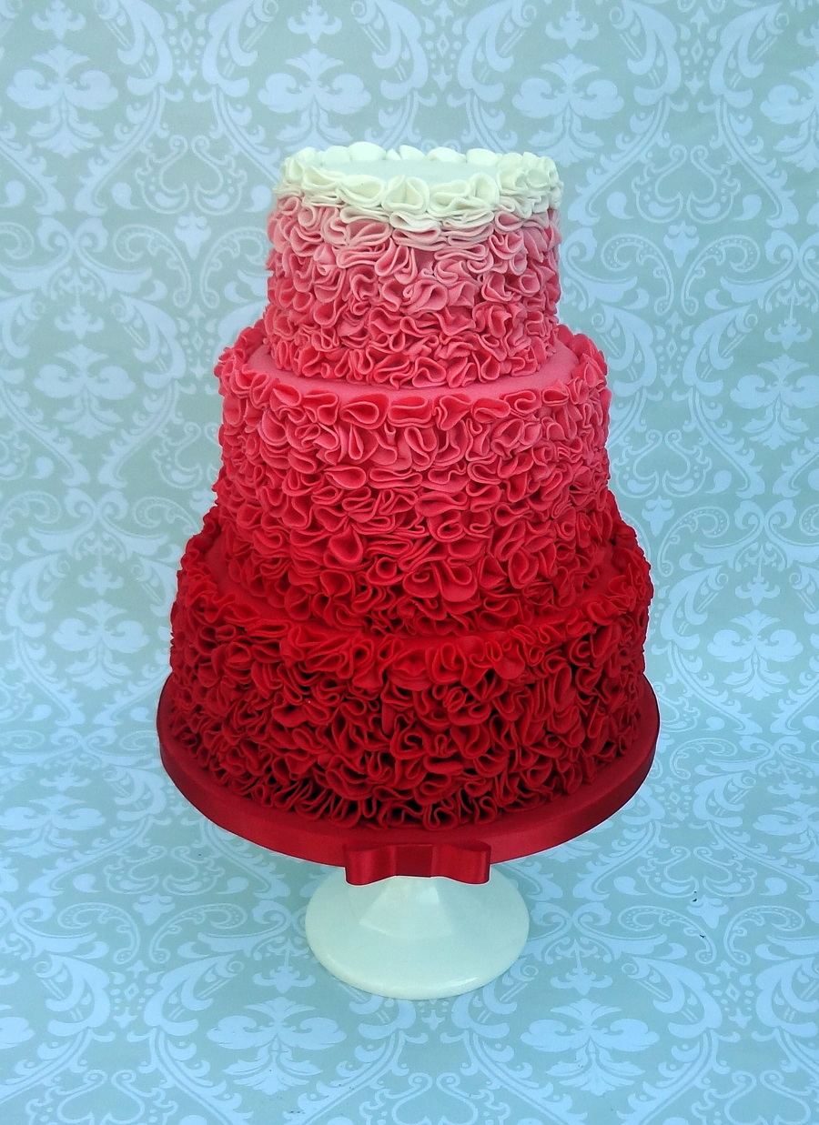 Red Ombre Ruffle Wedding Cake  CakeCentralcom