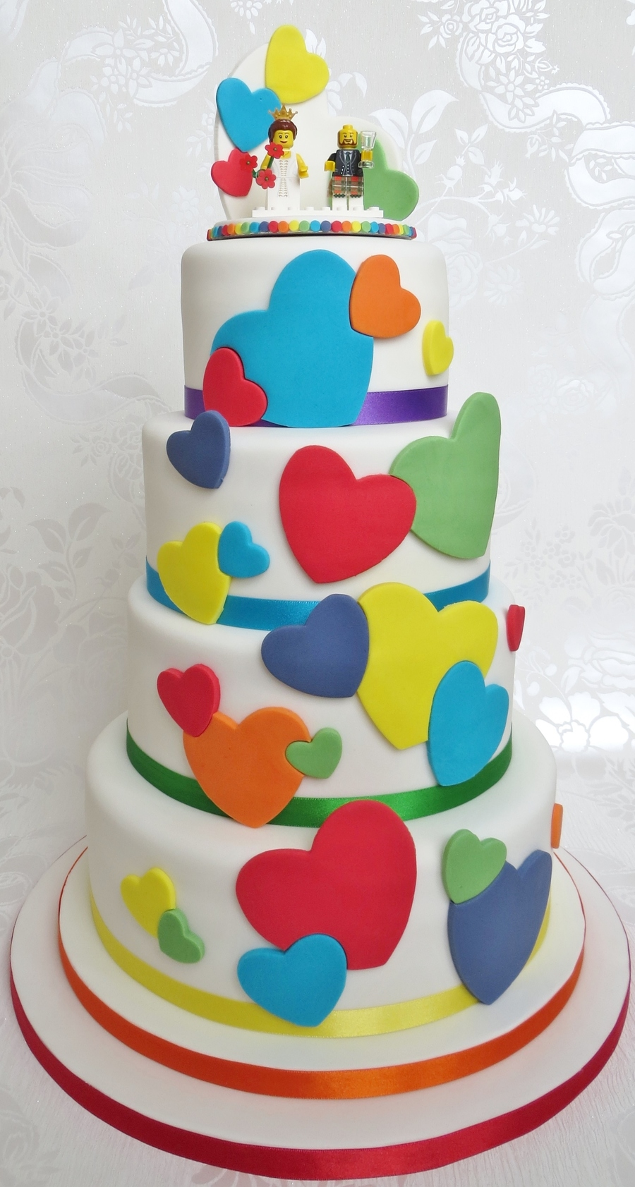 Rainbow Heart Wedding Cake With Lego Topper Cakecentral Com