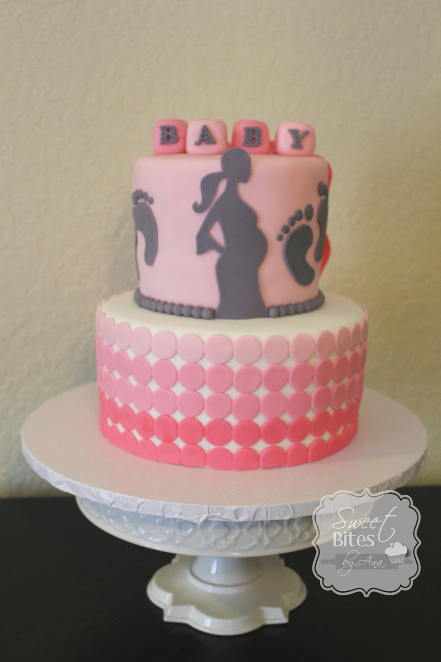 Pink Ombre Baby Shower Cake  CakeCentralcom