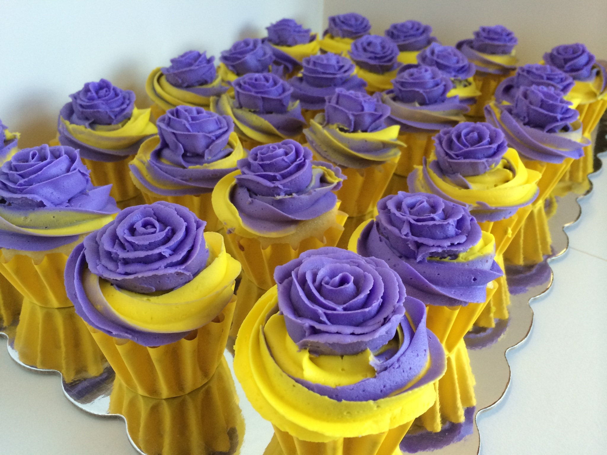 Purple And Yellow TwoTone Swirl Cupcakes  CakeCentralcom