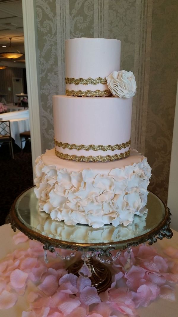 Top Two Tiers Pink Buttercream With Fabric Ribbon