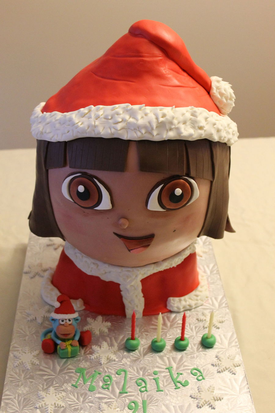 Dora Christmas Birthday Cake With Gumpaste Boots Figure