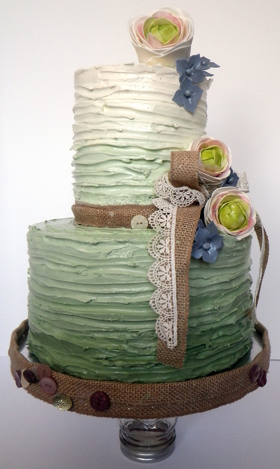 Ridge Textured Buttercream Sage Ombre Cake  CakeCentralcom