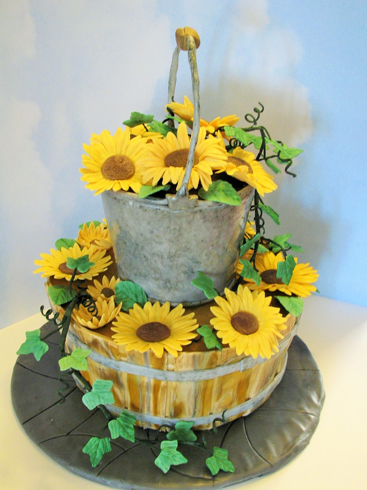 Country Wedding Cake Mm Fondant For Bucket And Basket Effects Gumpaste Flowers  CakeCentralcom