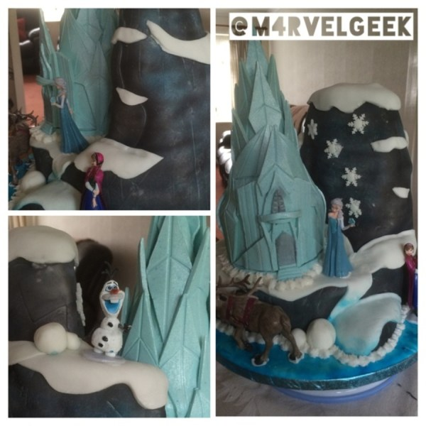 Frozen Cake Sixth Birthday Party Vanilla Sponge Carved Mountain Iced With Airbrushed