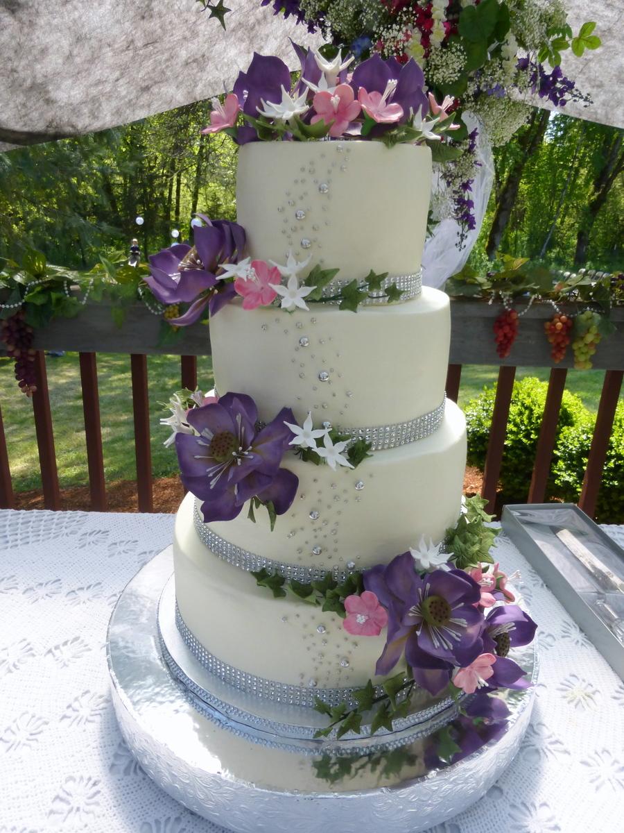 Lotus And Cherry Blossom Wedding Cake  CakeCentralcom