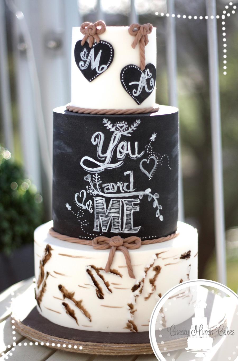 Rustic Birchbark Chalkboard Wedding Cake  CakeCentralcom