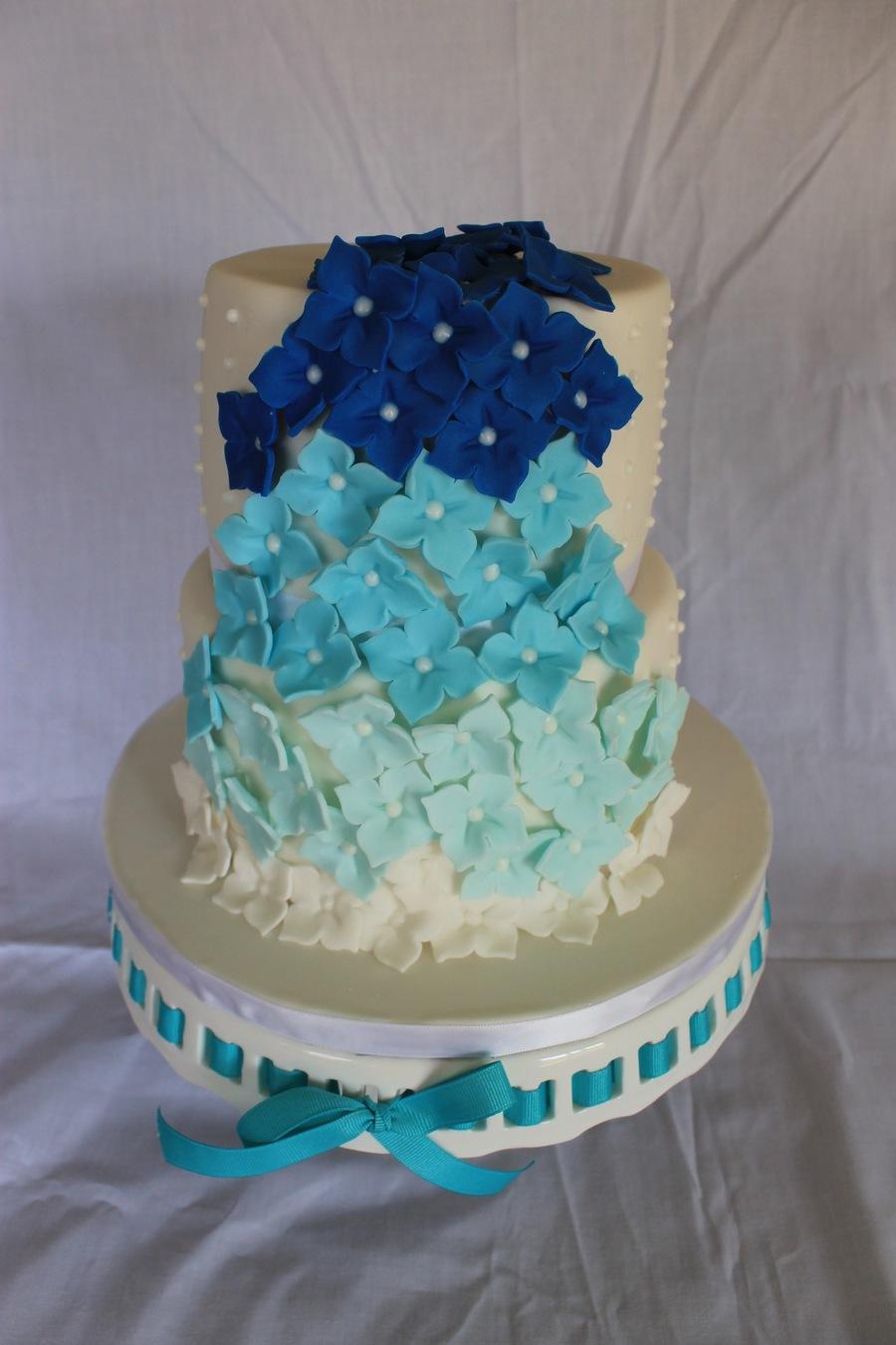 Blue Ombre Wedding Cake Cakecentral Com