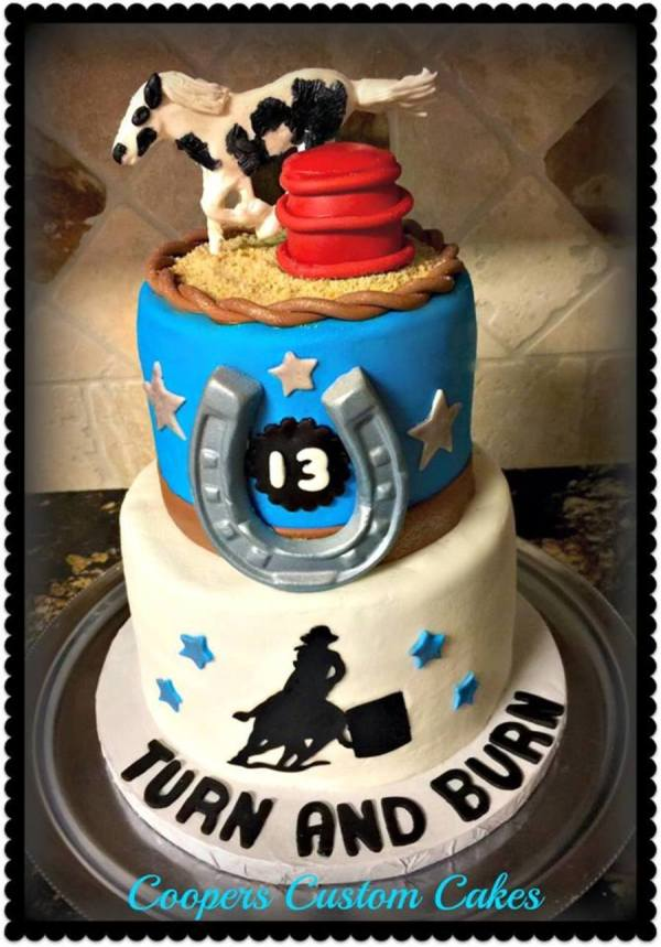 Turn And Burn Barrel Racing Cake