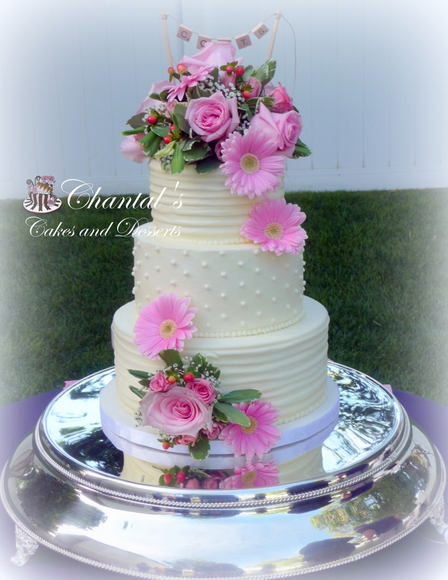 Lines And Dots Buttercream Wedding Cake  CakeCentralcom