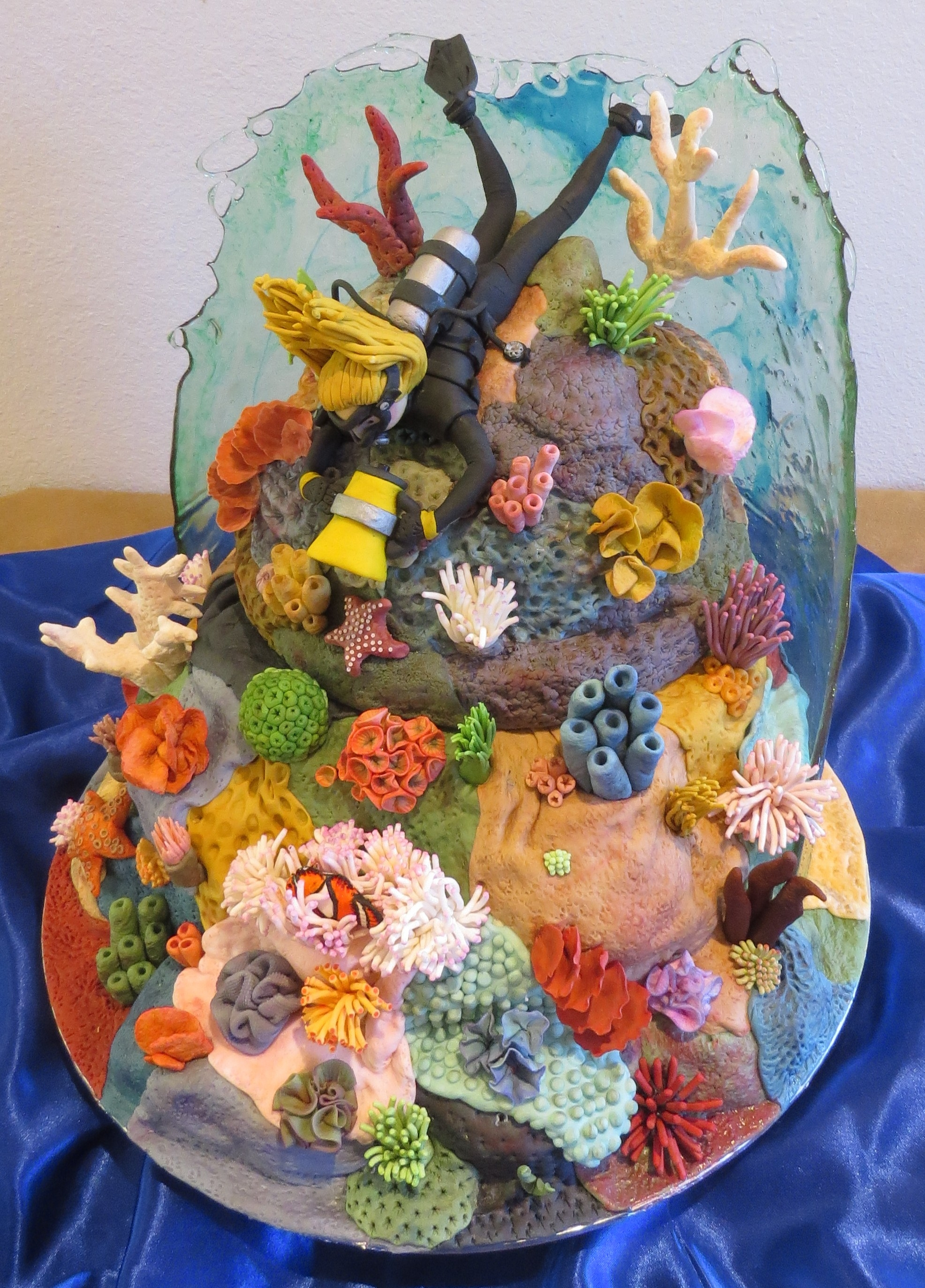 Scuba Diving Coral Reef Cake With Working Dive Light And