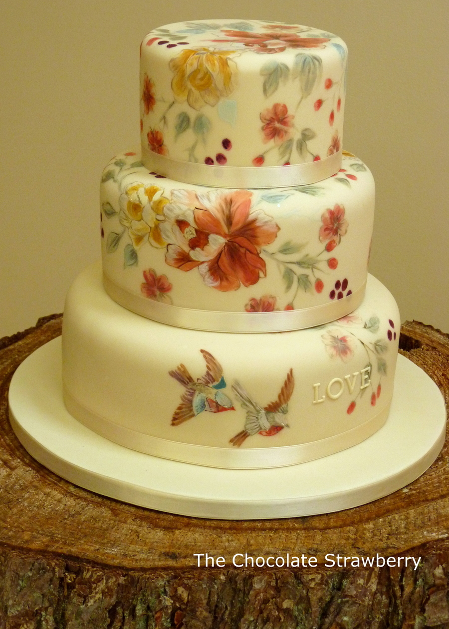 Vintage Themed HandPainted Wedding Cake With Birds  CakeCentralcom