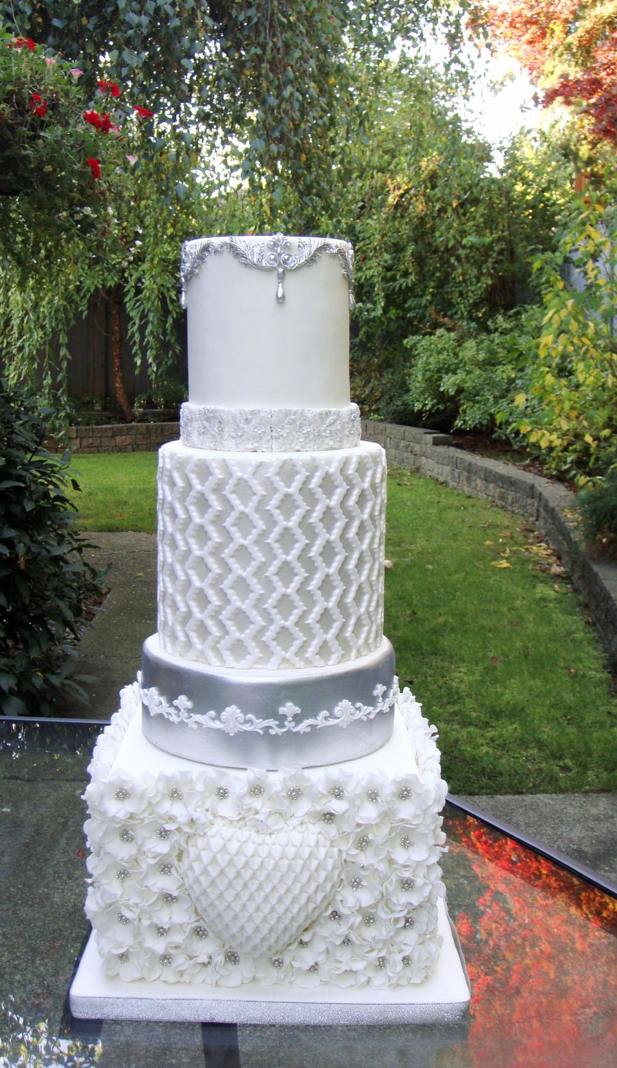 White And Silver Wedding Cake Cakecentral Com