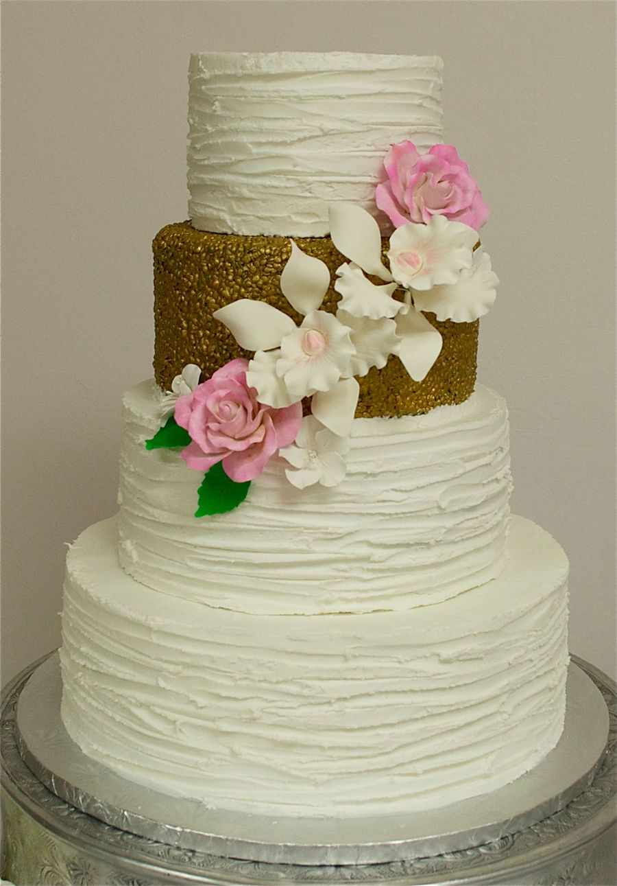 Textured Buttercream  Gold Wedding Cake  CakeCentralcom