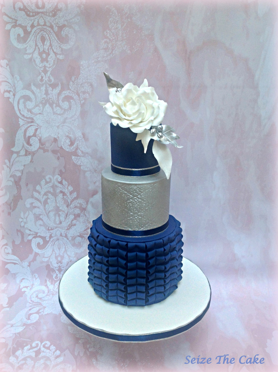 Navy Blue And Silver Cake  CakeCentralcom