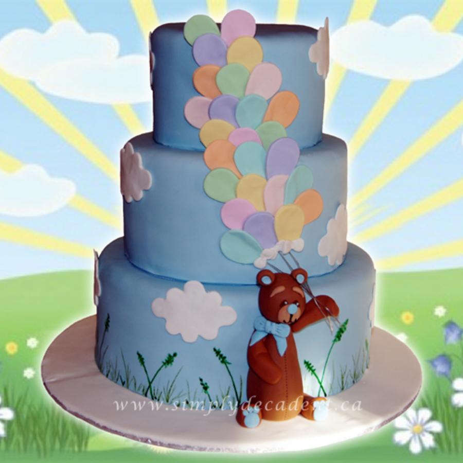 3 Tier Fondant Birthday Cake With 3d Hand Sculptured Teddy