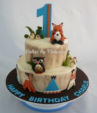 Woodland Animals Birthday Cake - CakeCentral.com