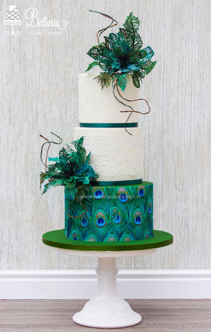 Peacock Inspired Wedding Cake  CakeCentralcom