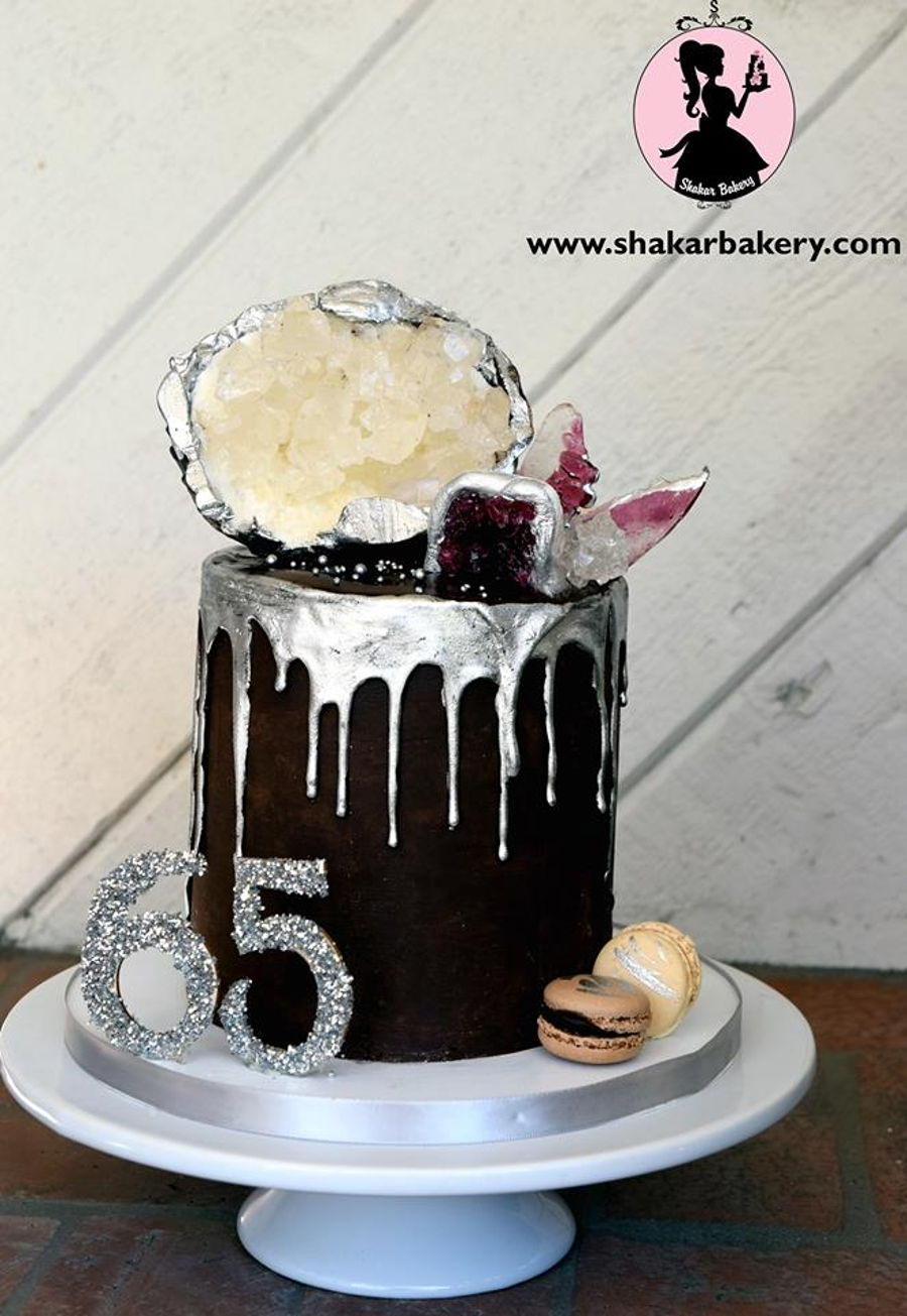 Sugar Geode And Agate Drip Cake CakeCentral Com