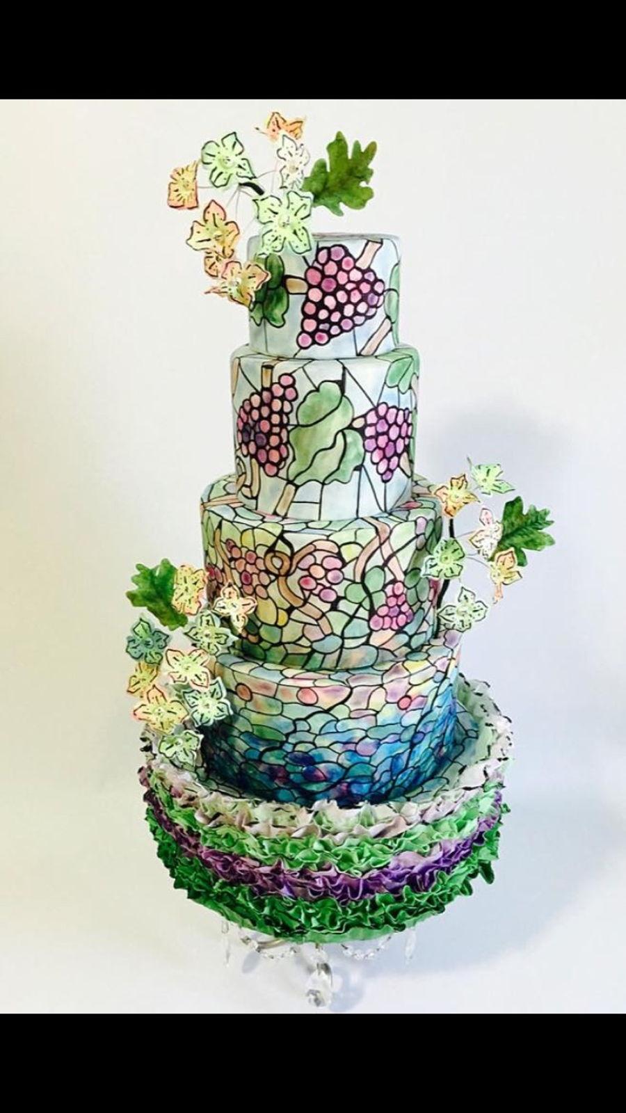 Vinyard Theme Stained Glass Wedding Cake  CakeCentralcom