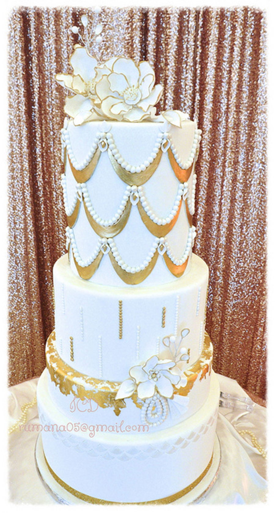 White And Gold Wedding Cake  CakeCentralcom