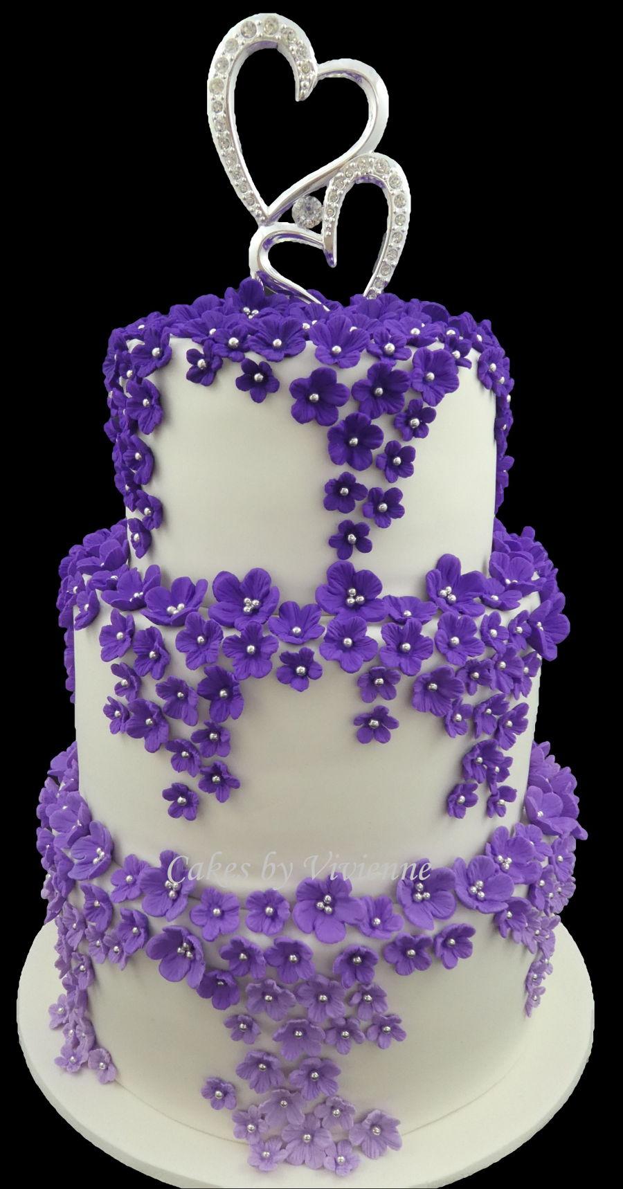 Cascading Purple Ombre Blossom Wedding Cake  CakeCentralcom