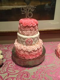 Sweet 16 Three Tier Pink Rose Birthday Cake - CakeCentral.com