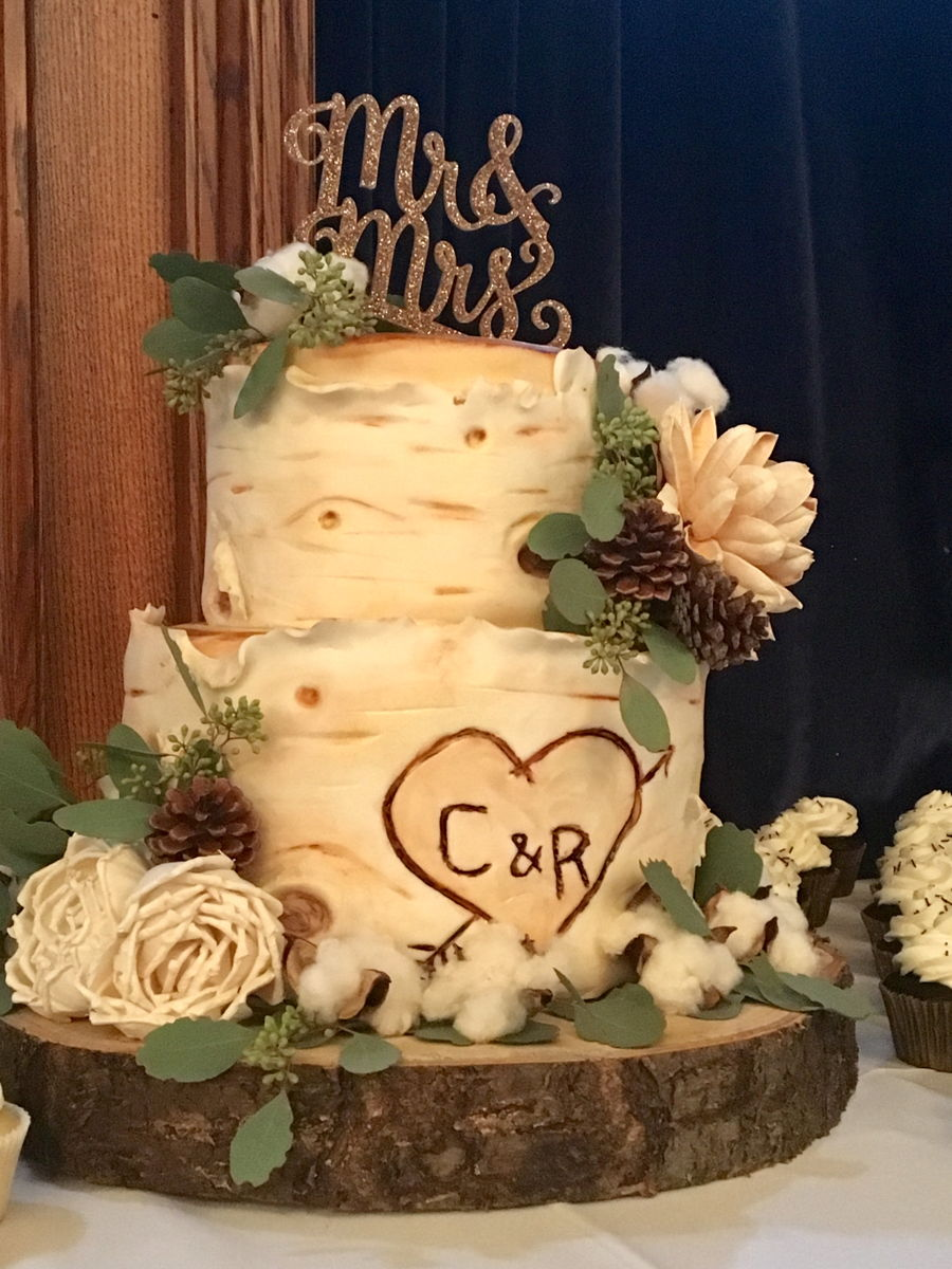 White Birch Wedding Cake