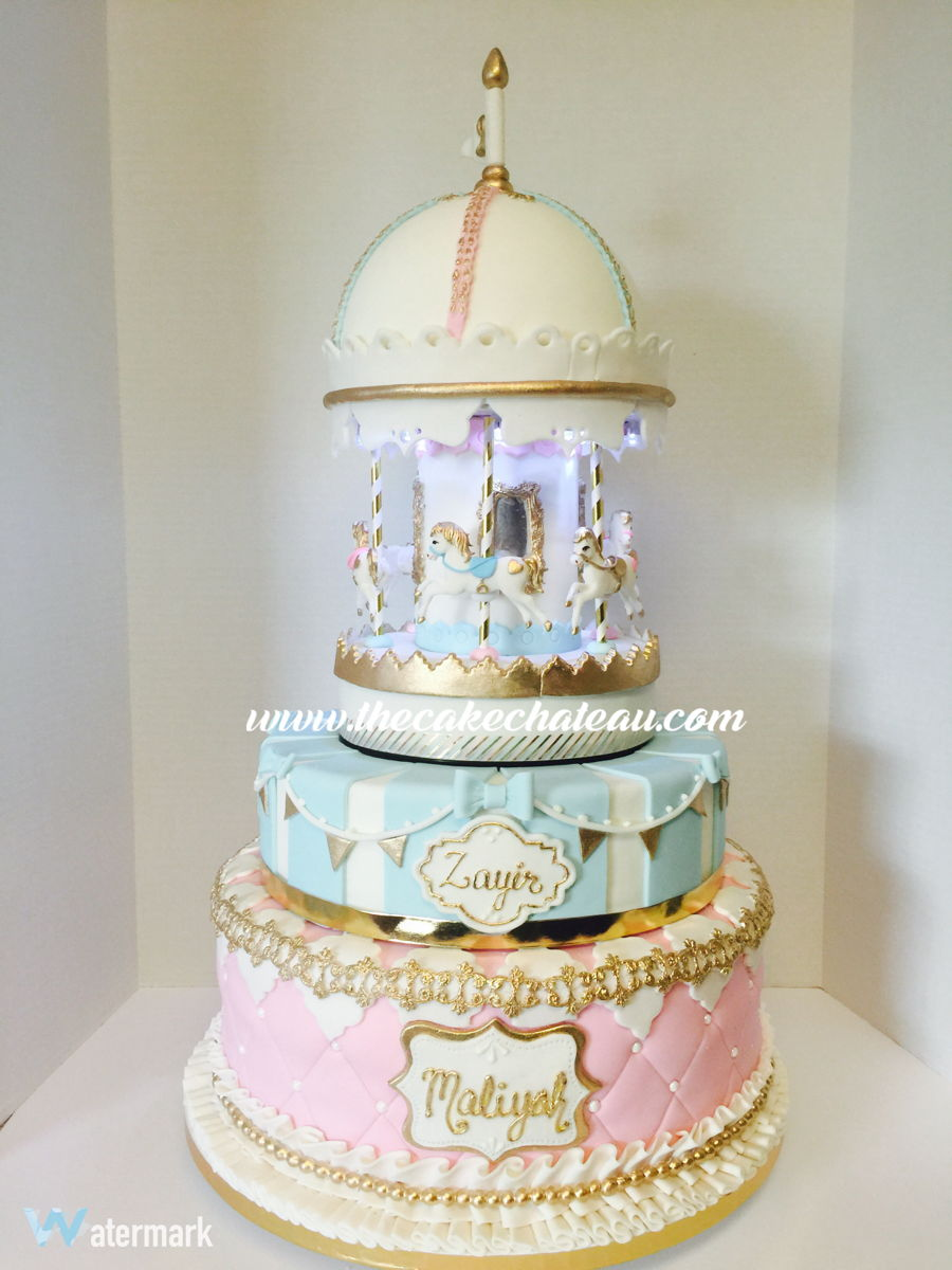 Musical Spinning And Lighted Vintage Carousel Cake