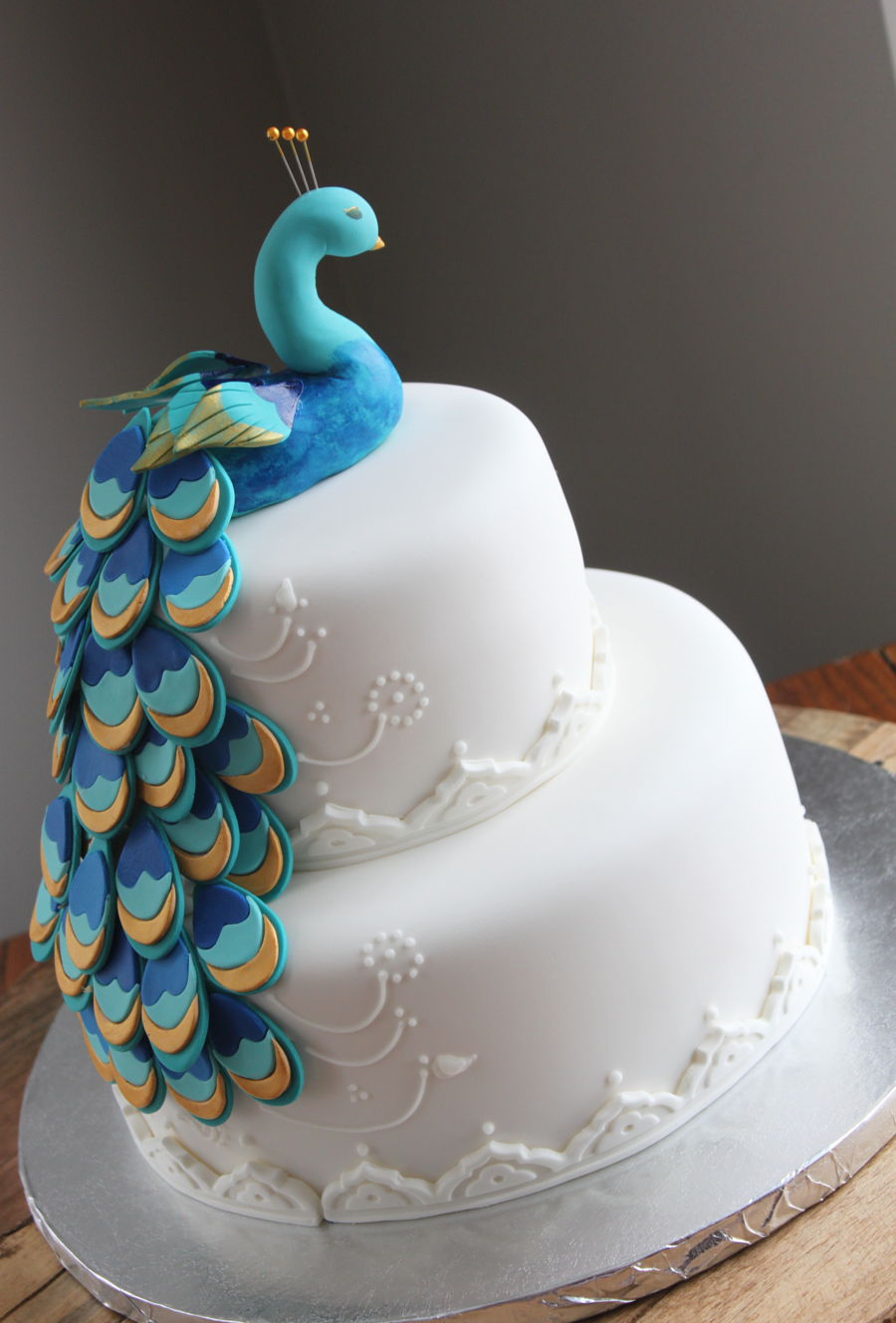 Peacock Bridal Shower Cake  CakeCentralcom