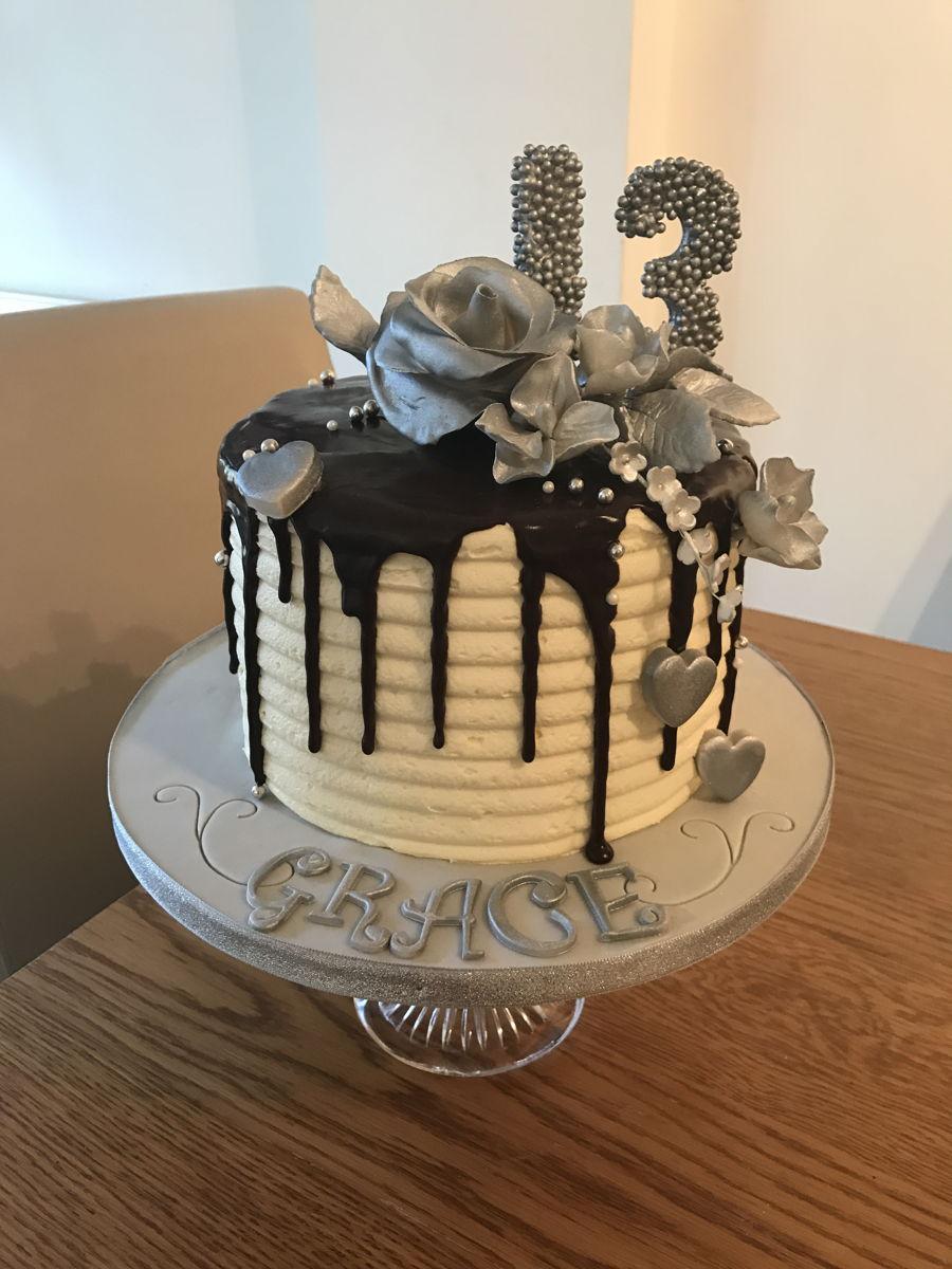 Silver Flower Drip Cake  CakeCentralcom