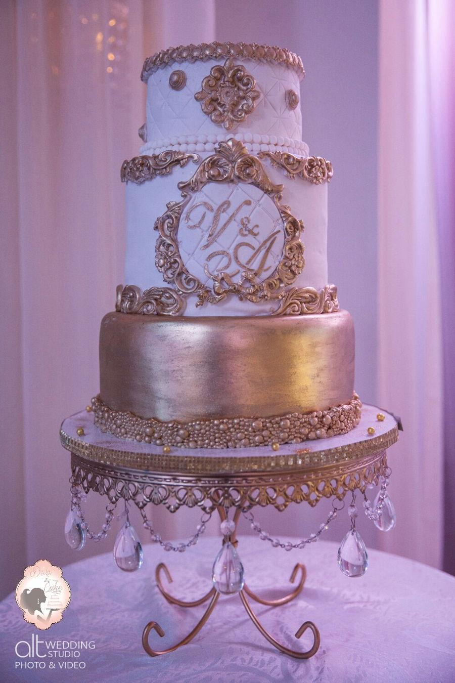 Baroque Wedding Cake White  Gold  CakeCentralcom