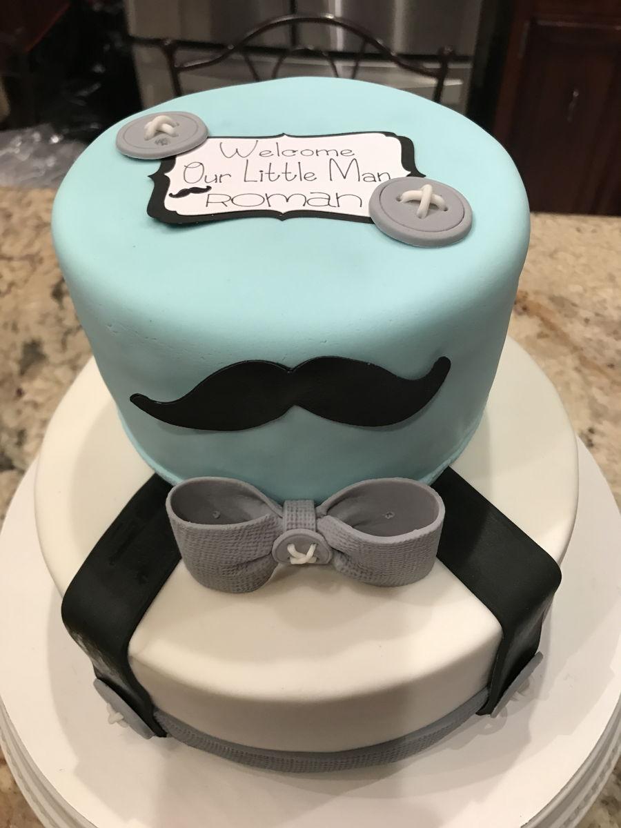 Little Man Mustache Baby Shower Cake  CakeCentralcom