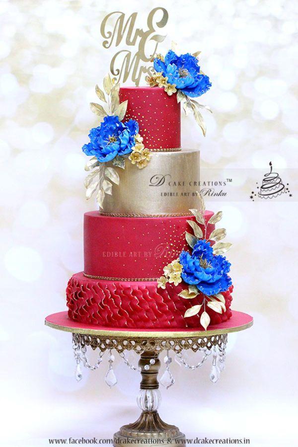 Red Black Blue Wedding Cake Imgurl