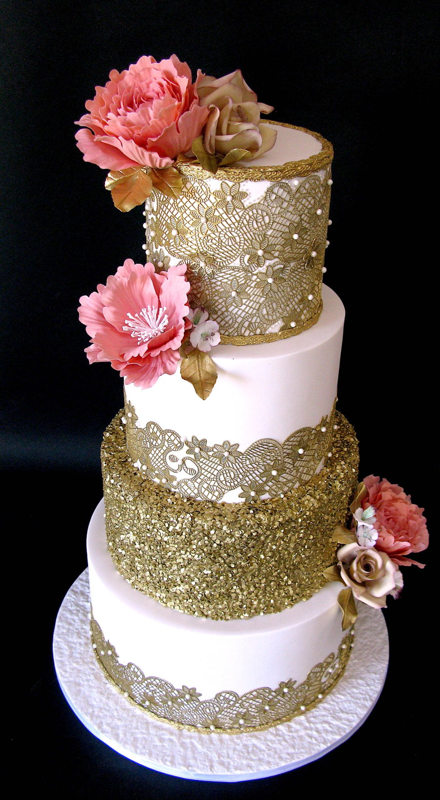 Gold Lace Wedding Cake  CakeCentralcom