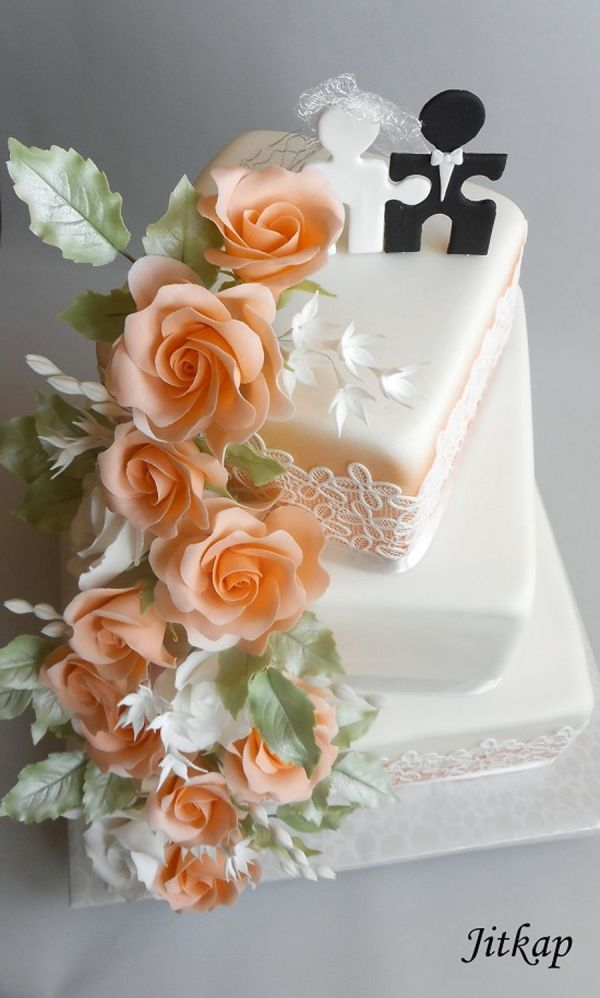 Wedding Cake With Orange Roses CakeCentralcom
