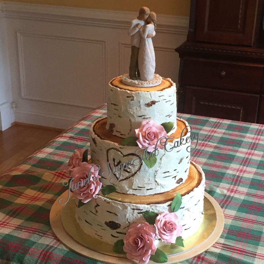 Birch Tree Rustic Wedding Cake With Bridal Pink Roses