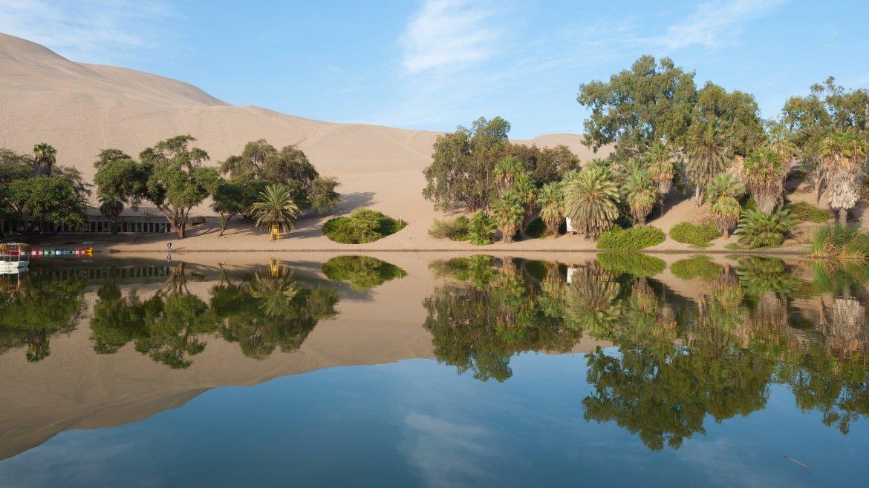 El oasis es una pequeña laguna que se encuentra en la mitad del desierto, rodeada por árboles de palma, dunas de arena y árboles de algarrobo o huarangos