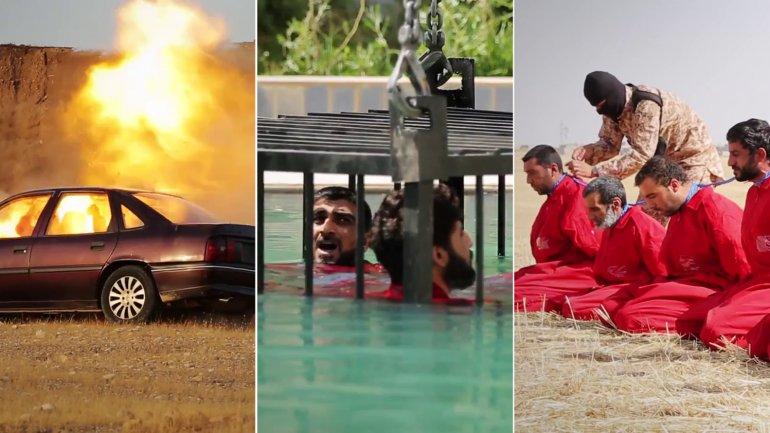 Video: el ISIS ahoga prisioneros en una jaula y explota secuestrados con bombas en el cuello