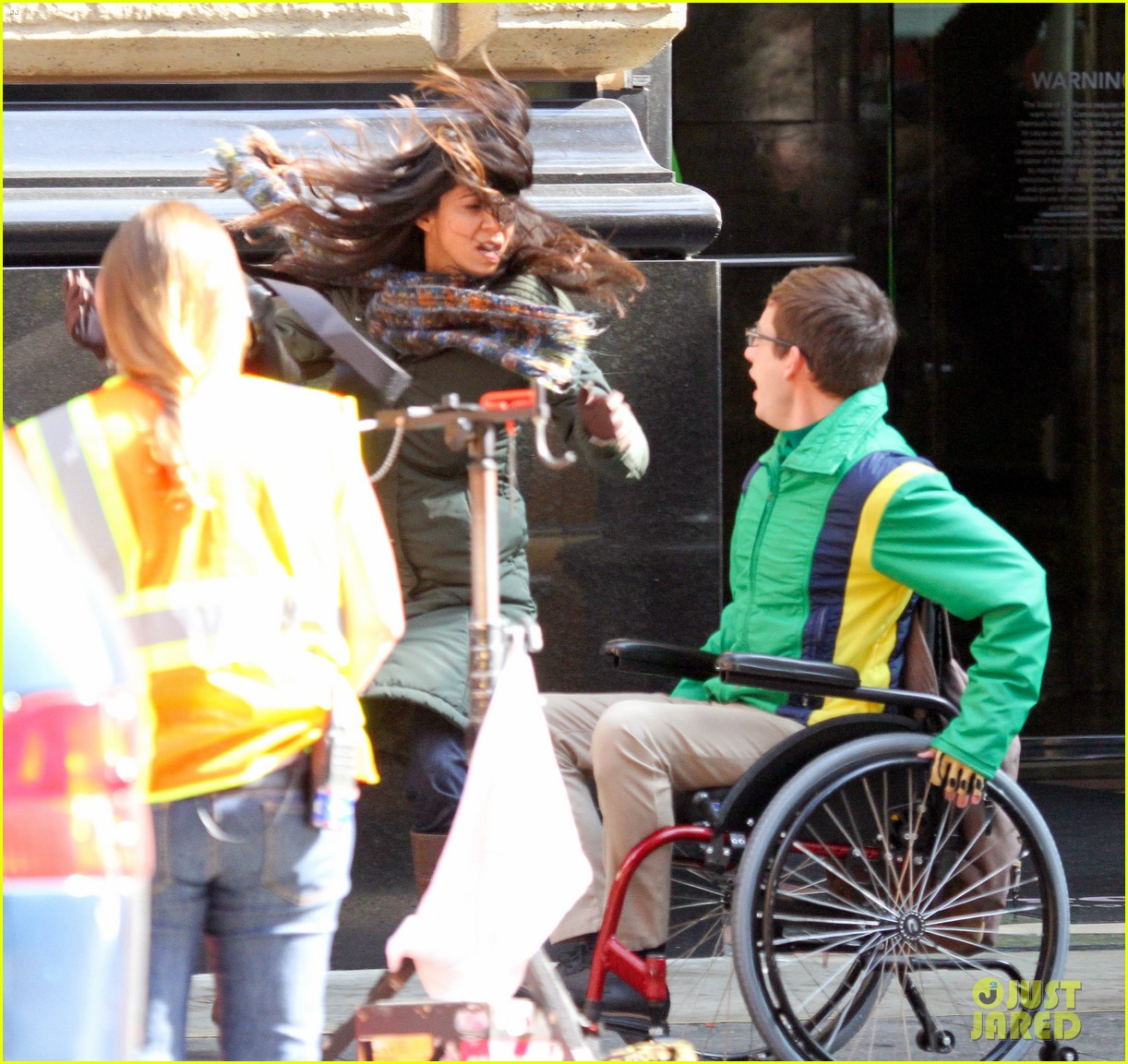 wheelchair glee ektorp chair covers ikea lea michele films 39glee 39 new york scenes with kevin mchale