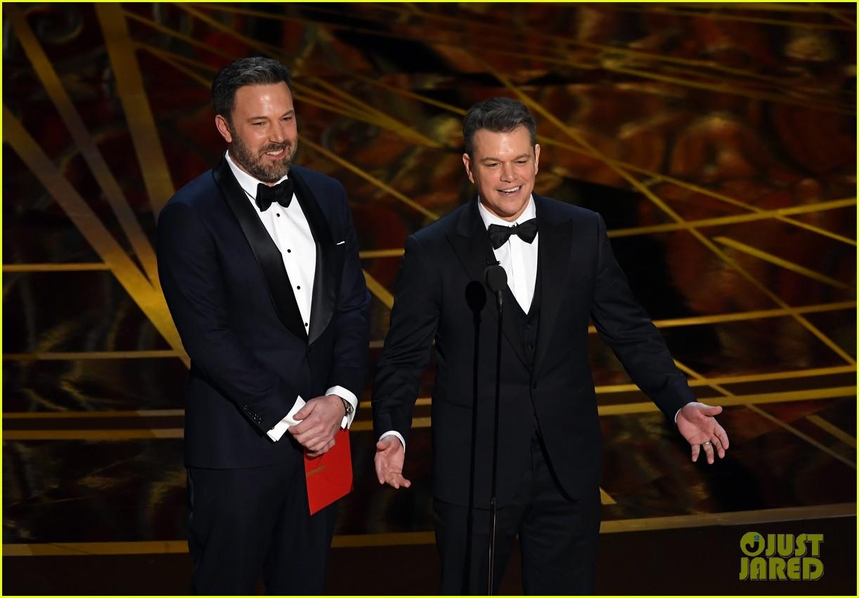 Ben Affleck & 'Guest' Matt Damon Present at Oscars 2017. Matt Gets Played Off by Jimmy Kimmel: Photo 3867077 | 2017 Oscars. Ben Affleck. Jimmy ...