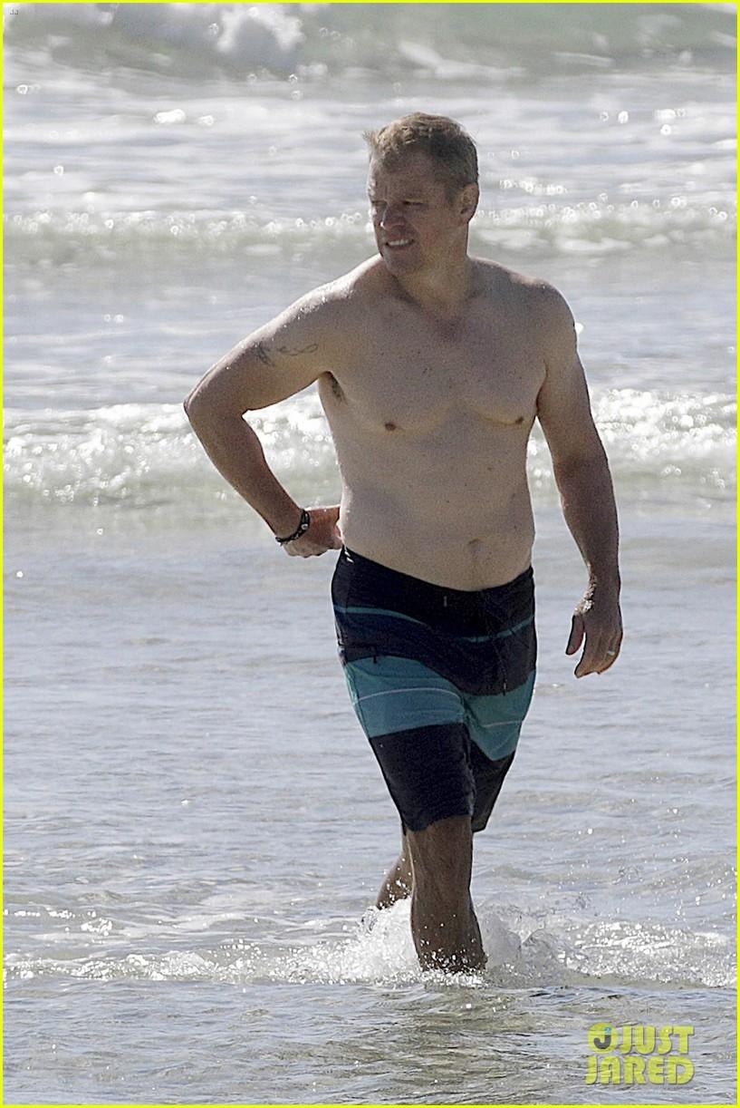Chris Hemsworth  Matt Damon Go Shirtless at the Beach