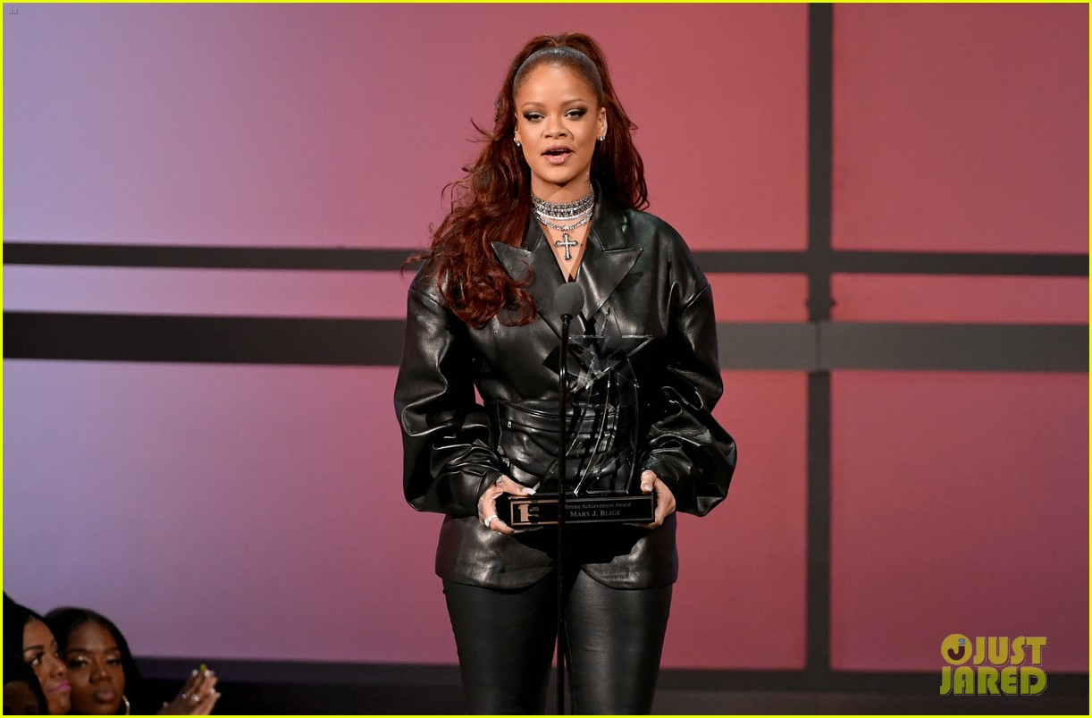 rihanna dons leather outfit
