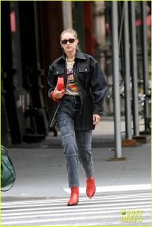 Gigi Hadid Pairs Dark Denim With Red Boots Nyfw