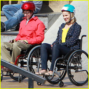 wheelchair glee colorful kitchen chairs dianna agron what is quinn s fate on