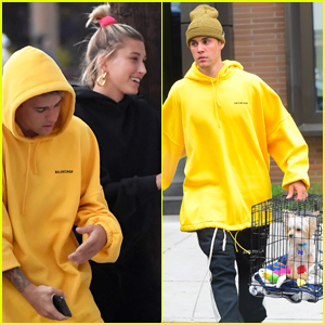 Justin & Hailey Bieber Step Out with Their Dog in NYC!