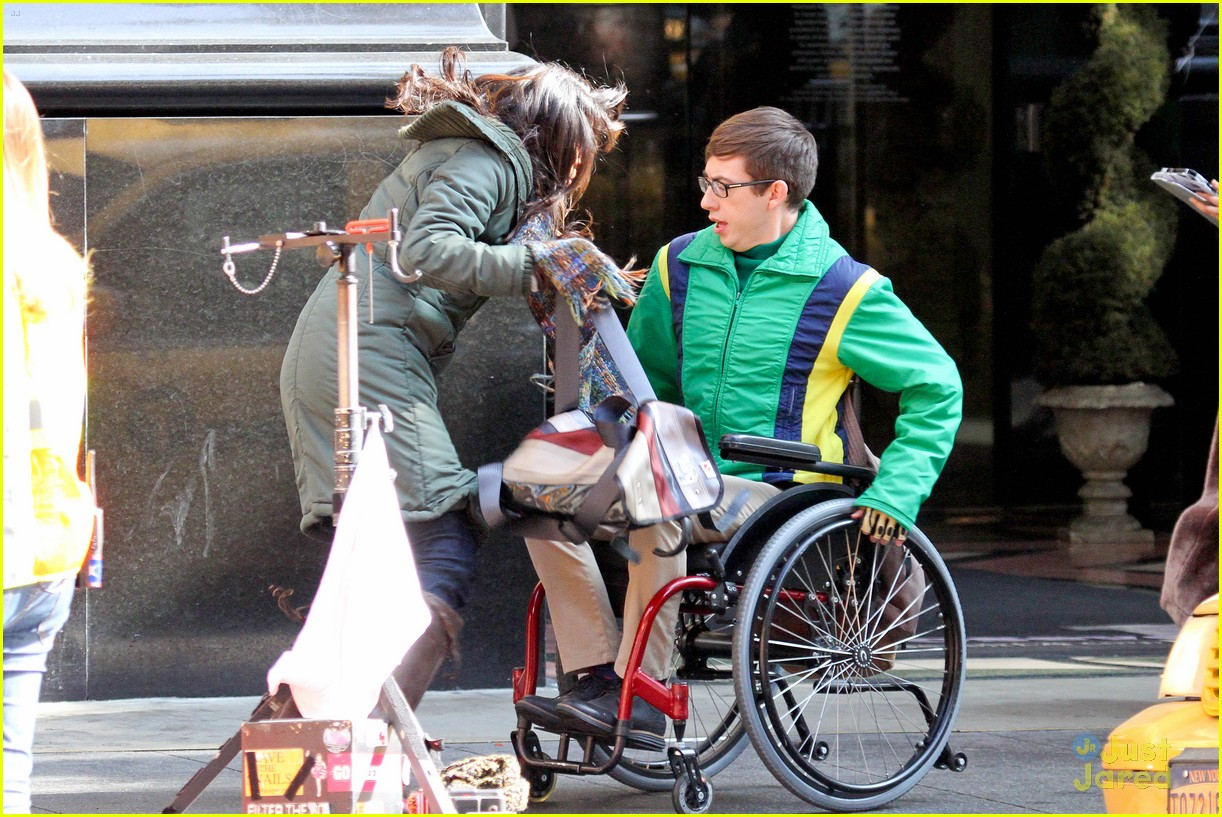 wheelchair glee grey linen chair sash kevin mchale run in on set photo 645326 crash scenes 01