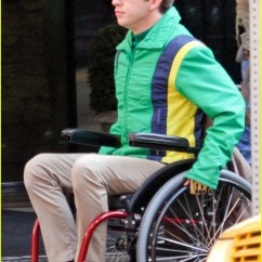 Wheelchair Glee Target Patio Chairs Folding Kevin Mchale Run In On Set Photo 645327 Crash Scenes 02