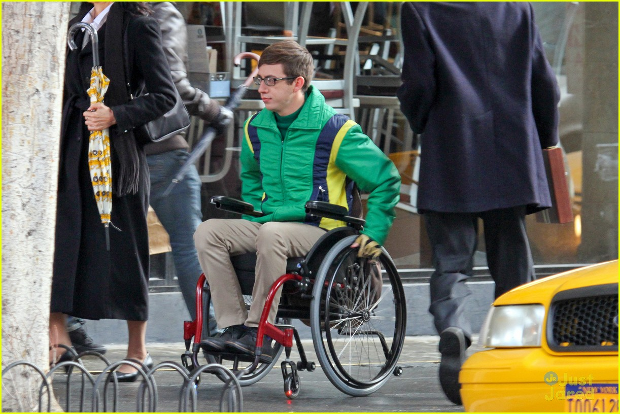 wheelchair glee black adirondack chair covers kevin mchale run in on set photo 645328 crash scenes 03