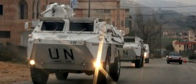 U.N. peacekeepers of the United Nations Interim Force in Lebanon (UNIFIL) patrol on their armored vehicles near Adaisseh village near the Lebanese-Israeli border, southern Lebanon